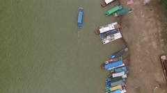 AERIAL OVERHEAD SHOT OF LOCAL BOAT IN LI RIVER XINPING CHINA Stock Footage