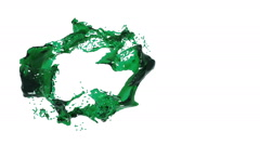 Green fluid is forming a circle Stock Footage