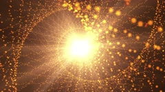 Spiral of golden particles and bright light background. Stock Footage