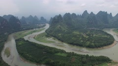 BEAUTIFUL AERIAL PAN SHOT OF LI RIVER AND KARST MOUNTAINS Stock Footage
