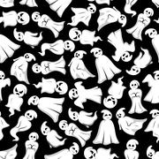 Halloween background with cartoon ghosts Stock Illustration