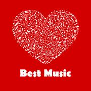 Best Music poster with heart shape musical notes Piirros