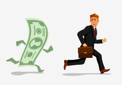 Businessman escaping dollar, running from banknote - stock illustration