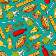 Food seamless pattern background. Meal and spices - stock illustration