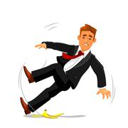 Businessman slips on banana peel and falls - stock illustration
