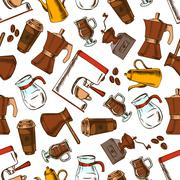 Coffee makers seamless pattern background Stock Illustration
