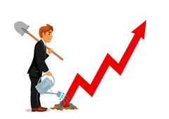 Businessman with spade. Business career growth Stock Illustration