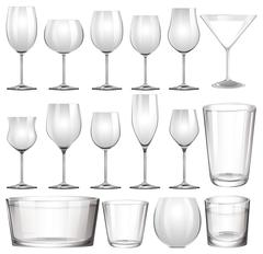 Set of wine glasses and cups Stock Illustration