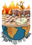 Polution on earth and drought Piirros