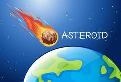 Asteroid flying in the space Stock Illustration