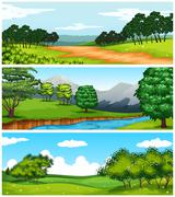 Three nature scenes with fields and trees Stock Illustration