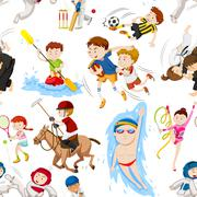 Seamless background with many sports Stock Illustration
