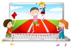 Computer screen with children running in race Stock Illustration