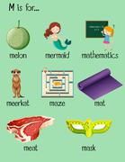 Many words begin with letter M Stock Illustration