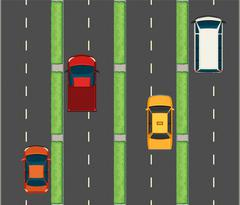 Aerial scene with cars on the roads Stock Illustration