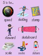 English words begin with letter S Stock Illustration