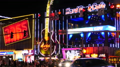 Zoom Out - Traffic in Front of Hard Rock Casino - Las Vegas Stock Footage