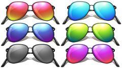 Set of different designs of sunglasses Stock Illustration