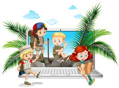 Children in safari outfit on computer screen Piirros