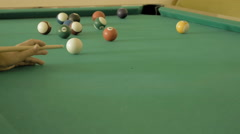 Close up of man playing pool billiard, snooker. Stock Footage