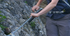 Hiking in a Mountain - Via Ferrata Stock Footage