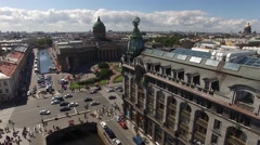 Best aerial view of Kazan cathedral in St. Petersburg. Beautiful drone flightove Stock Footage
