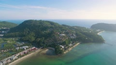 Southern Patong Beach and Tri Tra Beach in Phuket Aerial Pan Footage Stock Footage