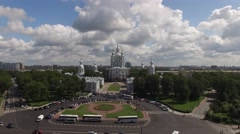 Smolny cathedral palace aerial footage. St.Petersburg Russia. Beatuful sunny day Stock Footage