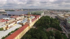 Russian Admiralty house in Saint Petersburg. Heat of the city. Neva river. Stock Footage