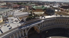 General Staff building aerial approach to statue. Palace square st.Petersburg.  Stock Footage