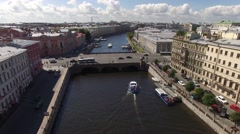 Saint Petersburg downtown flightover. Neva river canals Moika and Fontanka. Stock Footage