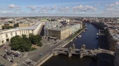 Saint Petersburg downtown flightover. Neva river canals Moika and Fontanka. Stock Footage