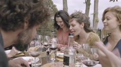 Family dining outdoors in summer Stock Footage