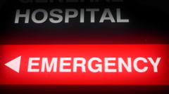 4K Large Red Hospital Emergency Sign Entrance, Health Care Building, Close Up Arkistovideo