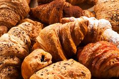 Close up of various croissant pastries Stock Photos