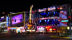 Crowd outside of Hard Rock Casino - Las Vegas Stock Footage