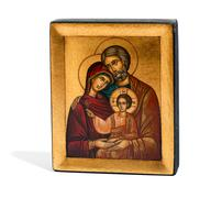 Gilded wooden icon of Joseph, Mary and Jesus Stock Photos