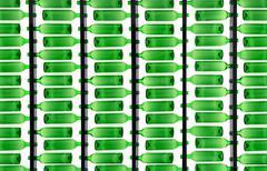 Translucent green bottles pattern Stock Photos