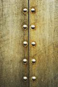 Grunge metal rivets and seam - stock photo