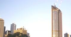 Brisbane Skyline Building with blue sky sunlight Australia Stock Footage