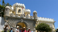 The Pena Palace, entrance gate Stock Footage