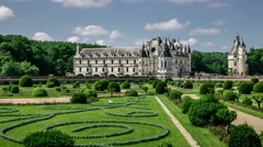 Hyperlapse of Chenonceau Castle and gardens in Chenonceaux, France Stock Footage