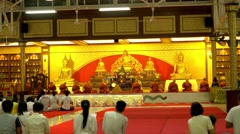 Buddha day in buddhist temple. People bring candles, flowers and incense sticks Stock Footage