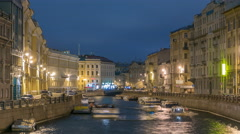Moyka river timelapse in Saint Petersburg, Russia at night with a motion blurred Stock Footage