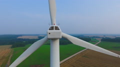 Aerial View. Beautiful windmill turbines sunset , wind energy turbines . - stock footage
