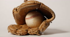 Baseball Sitting Inside Old Met Remembering the Game on White, 4K - stock footage
