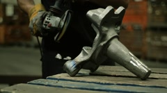 Worker using industrial grinder Stock Footage