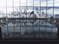 Boardroom table with city background. 3D illustration. Stock Illustration