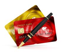 Credit cards, check book and pen isolated on white background. 3D illustratio Piirros