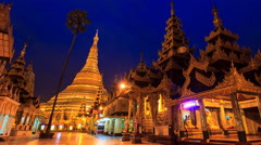 Shwedagon Pagoda Landmak Place Night to Day Time Lapse Of Yangon, Myanmar Stock Footage